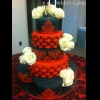 Red and Black Damask Wedding Cake.